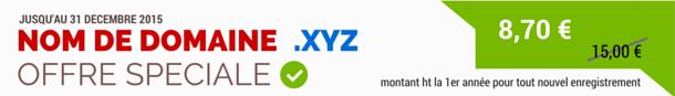 Offre spéciale sur le nom de domaine .XYZ